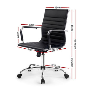 Eames Replica Office Chair, Mid Back, Leather, Black
