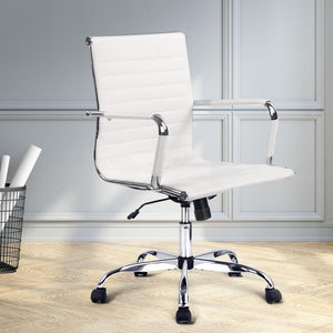 Eames Replica Office Chair, Mid Back, Leather, White