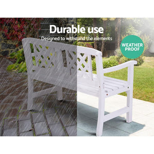 Garden Bench, 2 Seater, Wooden, White