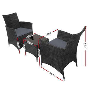 Rattan Outdoor Bistro Set, 3 Piece, Black