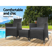 Load image into Gallery viewer, Rattan Outdoor Bistro Set, 3 Piece, Black
