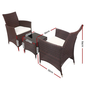 Rattan Outdoor Bistro Set, 3 Piece, Brown
