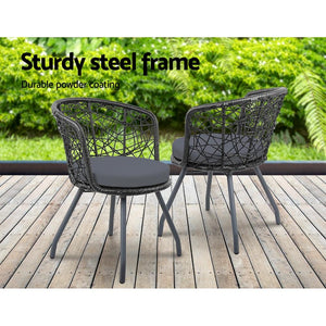 Outdoor Chair & Table Set, Black