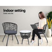 Load image into Gallery viewer, Outdoor Chair & Table Set, Black