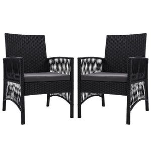 Outdoor Furniture Dining Chairs Rattan Garden Patio Cushion Black x2 Gardeon