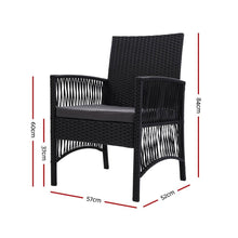 Load image into Gallery viewer, Outdoor Dining Chairs, Rattan, Black (Set of 2)