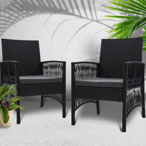 Outdoor Dining Chairs, Rattan, Black (Set of 2)