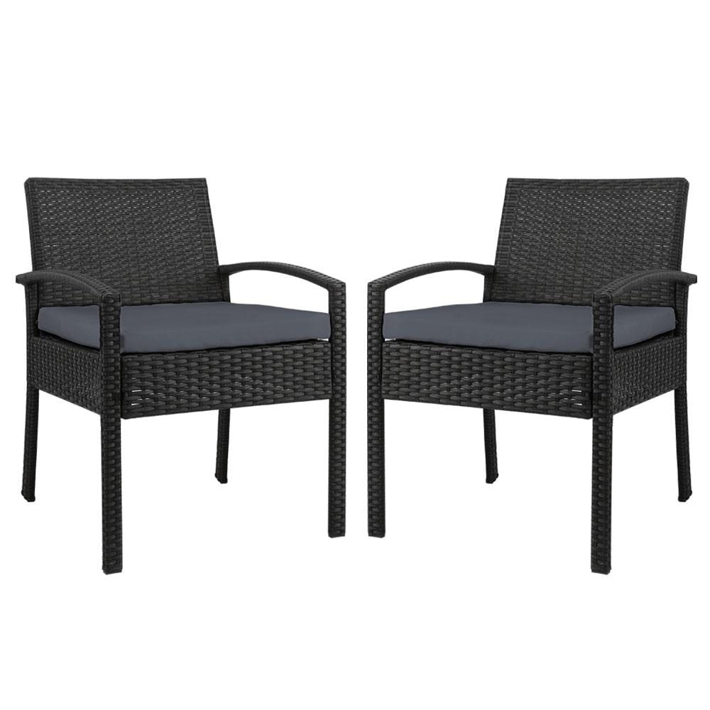 2x Outdoor Dining Chairs Wicker Chair Patio Garden Furniture Lounge Setting Bistro Set Cafe Cushion Gardeon Black