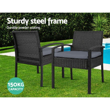 Load image into Gallery viewer, Outdoor Chair, Wicker, Black (Set of 2)
