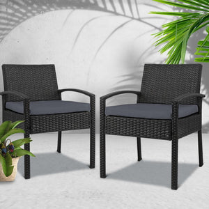 Outdoor Chair, Wicker, Black (Set of 2)