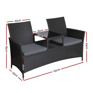 Outdoor Bench, Table, 2 Seater, Wicker, Black