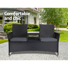 Load image into Gallery viewer, Outdoor Bench, Table, 2 Seater, Wicker, Black