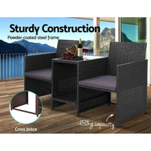 Load image into Gallery viewer, Loveseat, Wicker, Black