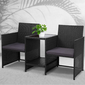 Loveseat, Wicker, Black