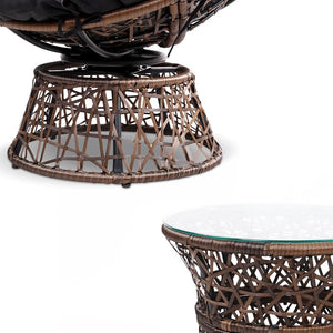 Papasan Outdoor Chair & Table, Wicker, Brown