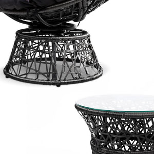 Papasan Outdoor Chairs & Table, Wicker, Black