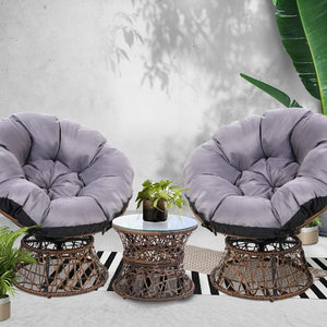 Papasan Outdoor Chairs & Table, Wicker, Brown