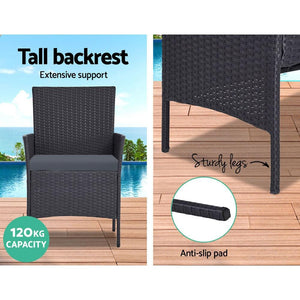 Rattan Outdoor Chair & Table Setting, Grey