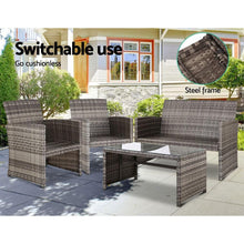 Load image into Gallery viewer, Rattan Chair & Table Set, Grey