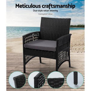 Rattan Lounge Set, Black