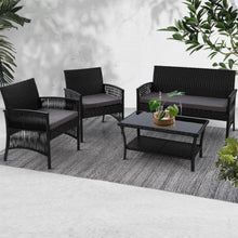 Load image into Gallery viewer, Rattan Lounge Set, Black