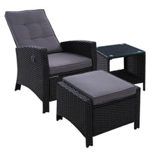 Load image into Gallery viewer, Gardeon Outdoor Setting Recliner Chair Table Set Wicker lounge Patio Furniture Black