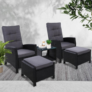 Roshan Lounge Set, 2 Seater, Wicker, Black