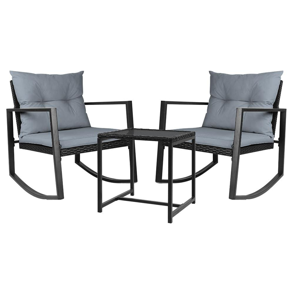 Gardeon Outdoor Chair Rocking Set - Black