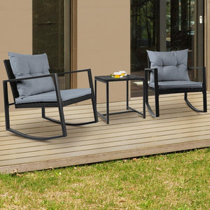 Outdoor Rocking Chair Set, Black