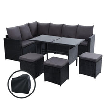 Load image into Gallery viewer, Gardeon Outdoor Furniture Dining Setting Sofa Set Wicker 9 Seater Storage Cover Black