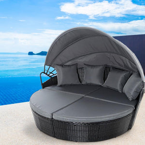 Outdoor Wicker Rattan Sofa, with Cushion, 4 Piece, Black, 180cm
