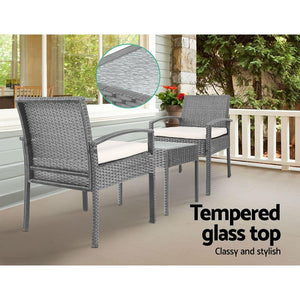 Rattan Outdoor Set, 3 Piece, Grey
