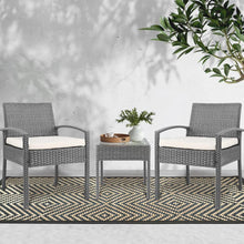 Load image into Gallery viewer, Rattan Outdoor Set, 3 Piece, Grey