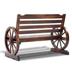 Wagon Wheel Bench, Outdoor, 2 Seater, Brown