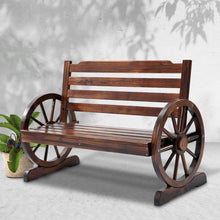 Load image into Gallery viewer, Wagon Wheel Bench, Outdoor, 2 Seater, Brown