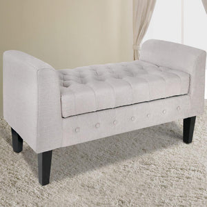 Storage Ottoman, Button Tufted, Beige
