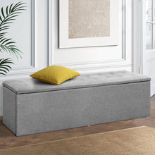 Load image into Gallery viewer, Large Storage Ottoman, Fabric, Grey
