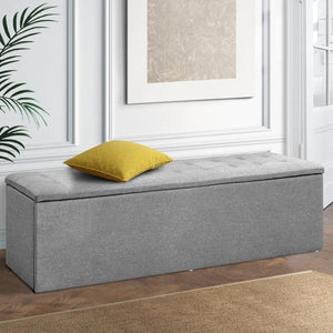Large Storage Ottoman, Fabric, Grey