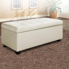 Load image into Gallery viewer, Bernd Storage Ottoman, Leather, Cream