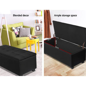 Lily Storage Ottoman, Upholstered, Black