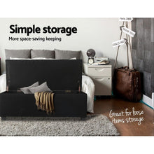Load image into Gallery viewer, Lily Storage Ottoman, Upholstered, Black