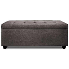 Load image into Gallery viewer, Lily Storage Ottoman, Upholstered, Brown
