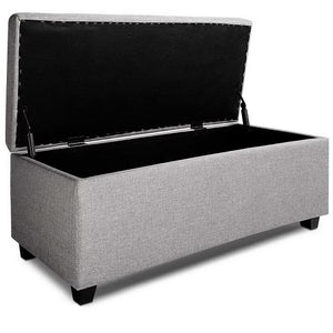 Lily Storage Ottoman, Upholstered, Light Grey