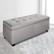 Load image into Gallery viewer, Lily Storage Ottoman, Upholstered, Light Grey