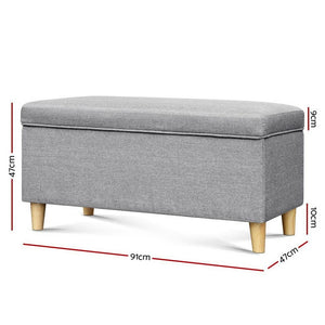 Kids Storage Ottoman, Fabric, Light Grey