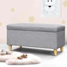 Load image into Gallery viewer, Kids Storage Ottoman, Fabric, Light Grey