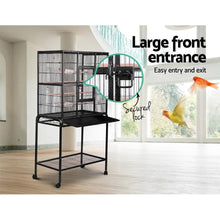 Load image into Gallery viewer, Bird Cage with Perch, High Stand, Black, Large
