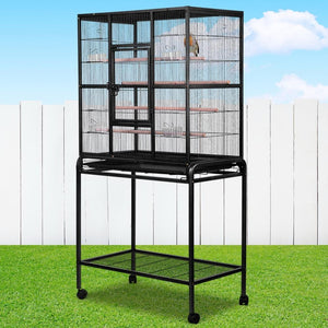 Bird Cage with Perch, High Stand, Black, Large