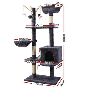 Maison Wooden Cat Tree, Dark Grey