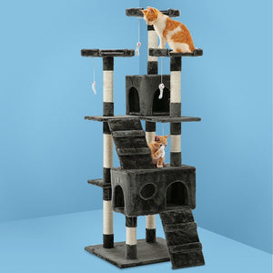 Cat Scratching Tower Post, Multi-Level, Grey, 180cm